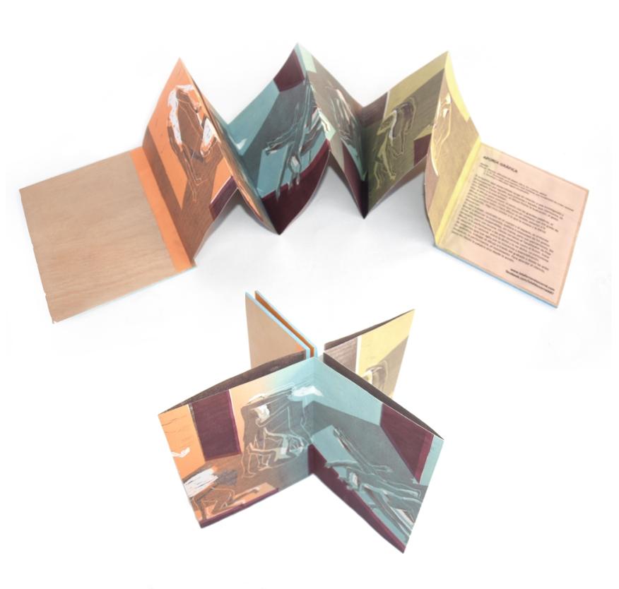 Libro de artista. Aporía gráfica Xilografía y linóleo con fondino y reservas. 20x15x2cm 2017