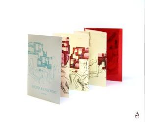 """Libro de artista """"Aporía en silencio, Edición OFFSET"""" 17x12x1'5cm desplegado 120x17cm Grabado offset e impresión digital sobre papel japonés. 2017"""