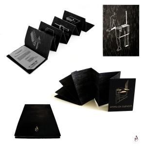 "Libro de artista ""Aporía en silencio, Edición Xilográfica"" Xilografía con cubiertas talladas en madera. 17x12x1'5cm desplegado 120x17cm 2016"