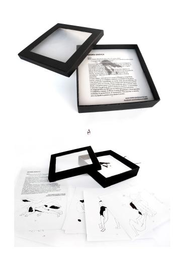 """Caja que recoge 100 dibujos a tinta. Dibujos vertebradores de """"Aporía Gráfica"""" 21x21x4 cm 2017"""
