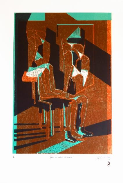 Aporía en silencio ed.Xilográfica 70x50cm Xilografía, linografía y serigrafía con carburundum 2016