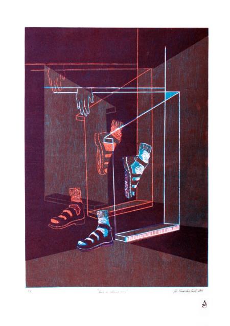 Aporía en silencio XXII Xilografía y lonografía a 3 tintas 50x70cm 2016